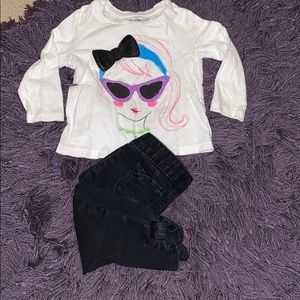 Baby gap black jeans and long sleeve top